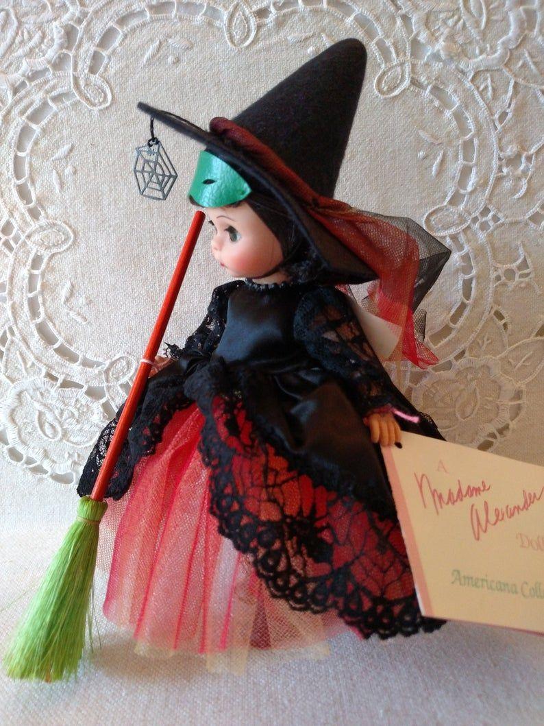 Witch, Madame Alexander, 8 Vintage Doll, Halloween Theme, Broom Accessory, Box, Wrist Tag, Paperwork