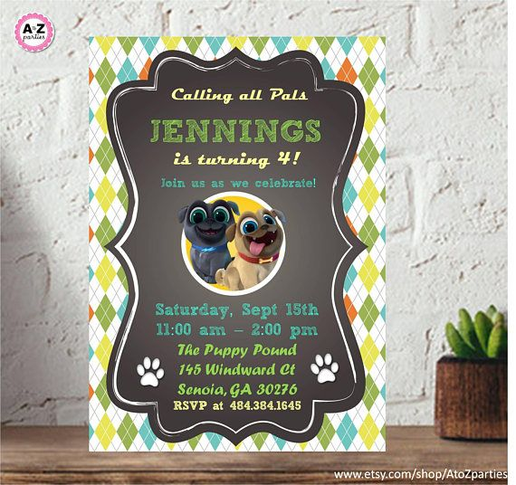 60 Off Sale Puppy Dog Pals Personalized Party Invitation Personalised Party Invitations Dog Themed Parties 2nd Birthday Parties