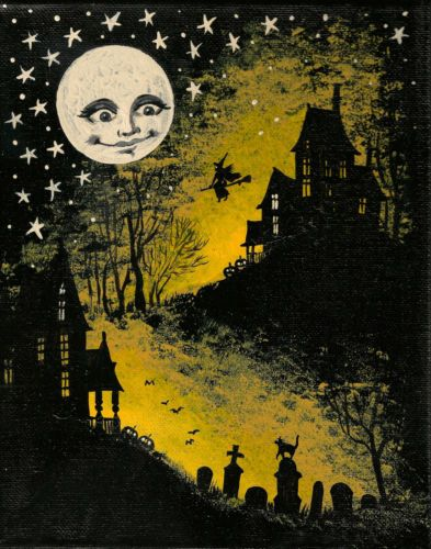 4X6 PRINT OF PAINTING HALLOWEEN VINTAGE STYLE FOLK RYTA WITCH BLACK CAT GHOSTS
