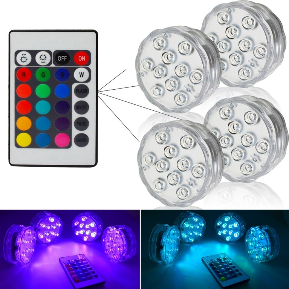 10 Led Submersible Led Underwater Lights Aaa Batteries Powered Waterproof Lamp For Swimming Pool Underwater Lights Swimming Pool Lights Pool Light