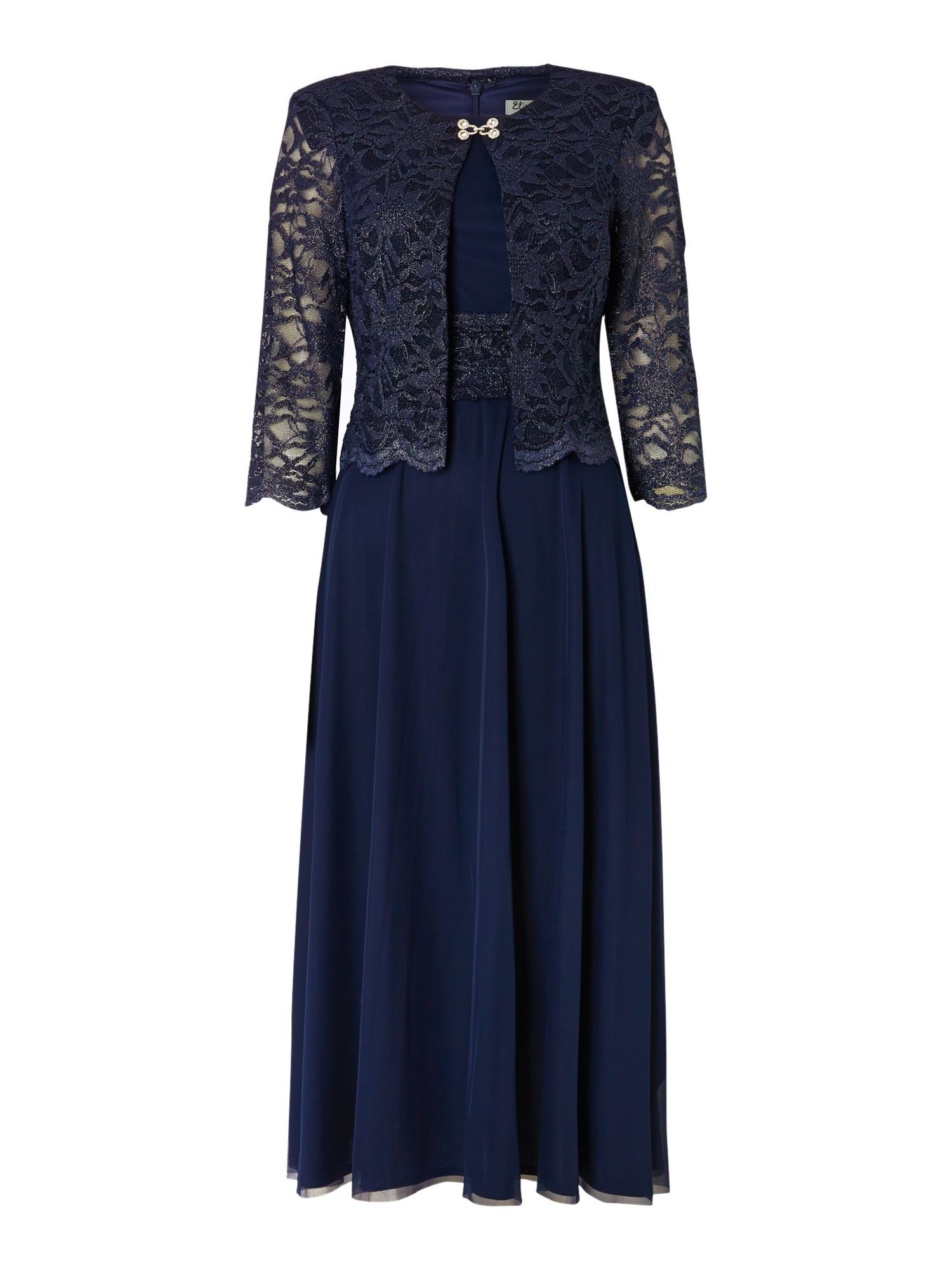 Eliza J Mesh And Lace Dress Jacket Navy