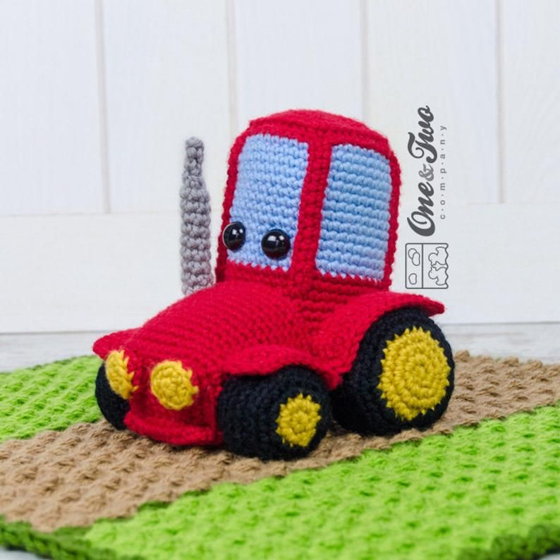Lovey Crochet Pattern - Tractor PDF Security Blanket - Tutorial Digital Download DIY -  Gus the Tractor Lovey - Dou Dou - Baby Toy - Snuggle #securityblankets