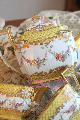 4:00 Tea...Dresden...Floral teapot, creamer and sugar bowl...delightful!