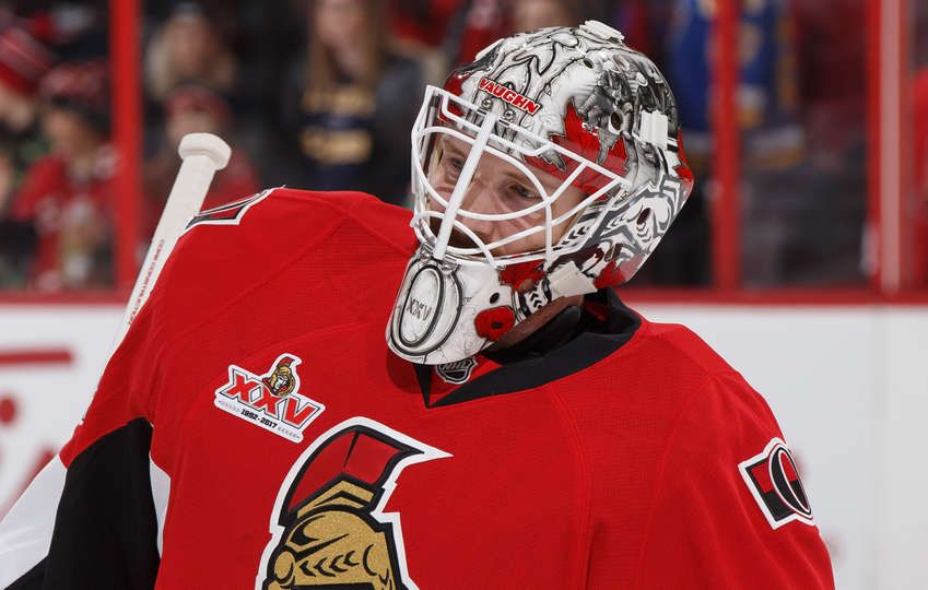 Ottawa On February 7 Andrew Hammond 30 Of The Ottawa Senators Warms Up Prior To His Start Against The St Louis Blues At Canadian Tire Centre On February 7