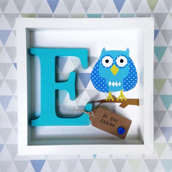Owl personalised name frame- a hand painted wooden letter frame with ...