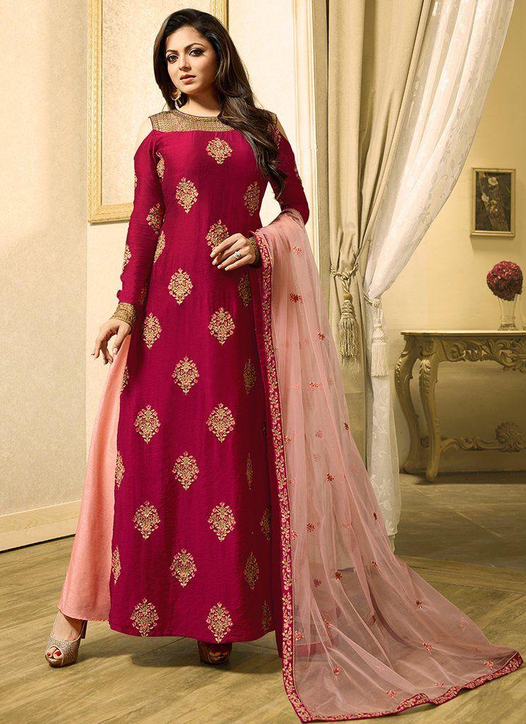 Hot Pink And Light Pink Cold Shoulder Anarkali Dresses Designer Suits For Wedding Nice Dresses