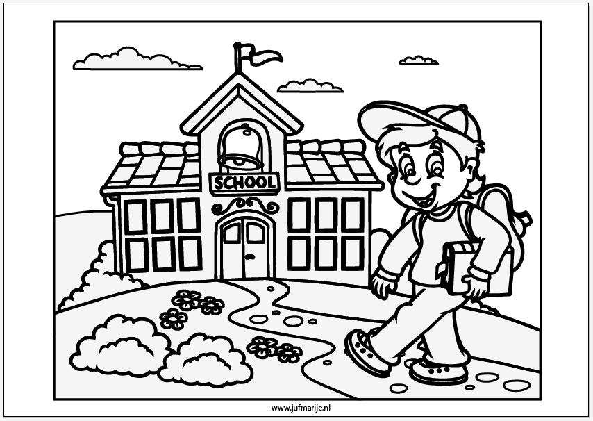 kleurplaat naar school school begint school terug naar