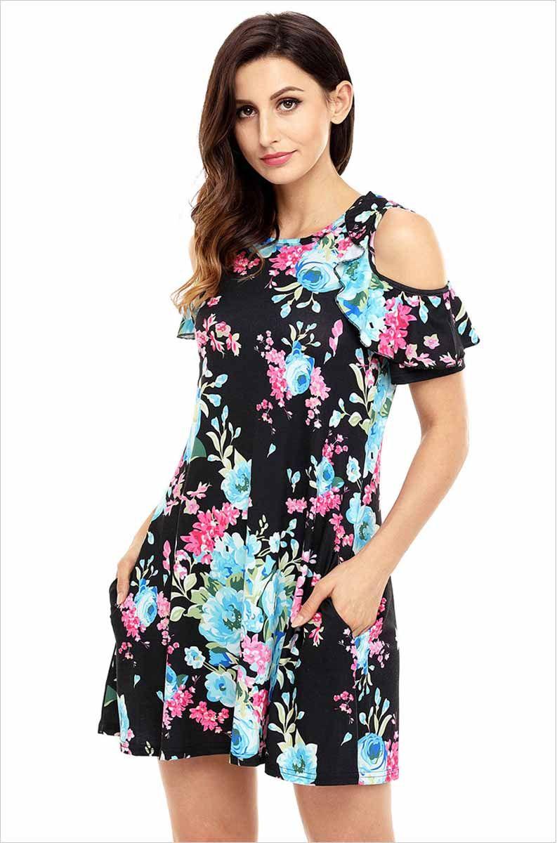 def976d5b0e Women s  black short ruffle sleeve mini  dress flower pattern print design