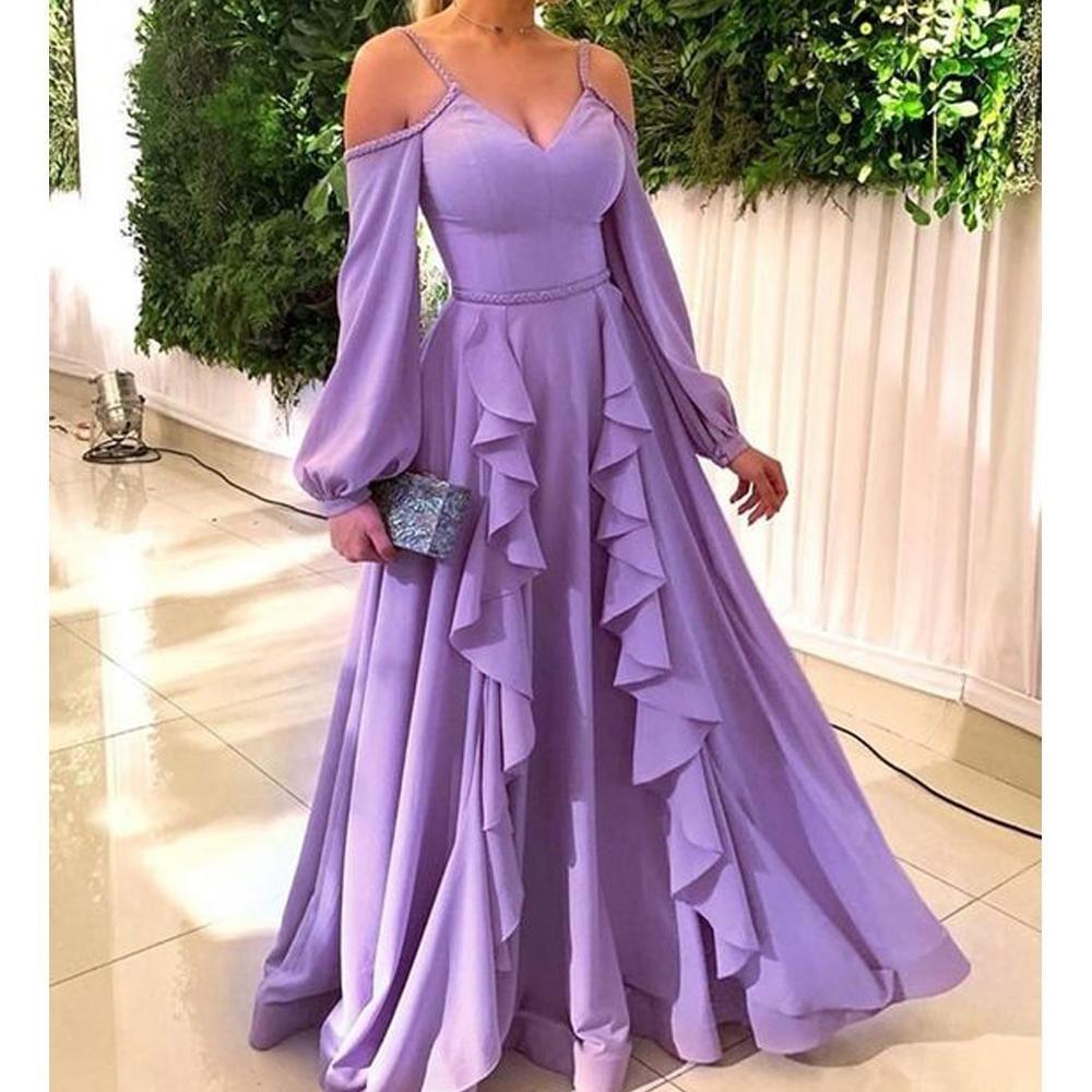 Purple Prom Dresses 2020 Sweetheart Neckline Ruffle A Line Floor Length Chiffon Long Sleeve Evening Dresses Vestidos De Fiesta Robe De Soiree Purple Prom Dress Ruffle Prom Dress Prom Dresses Long [ 1000 x 1000 Pixel ]