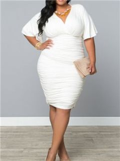 0bf99c5a8392 Ericdress Plain V-Neck Short Sleeve Plus Size Sheath Dress ...
