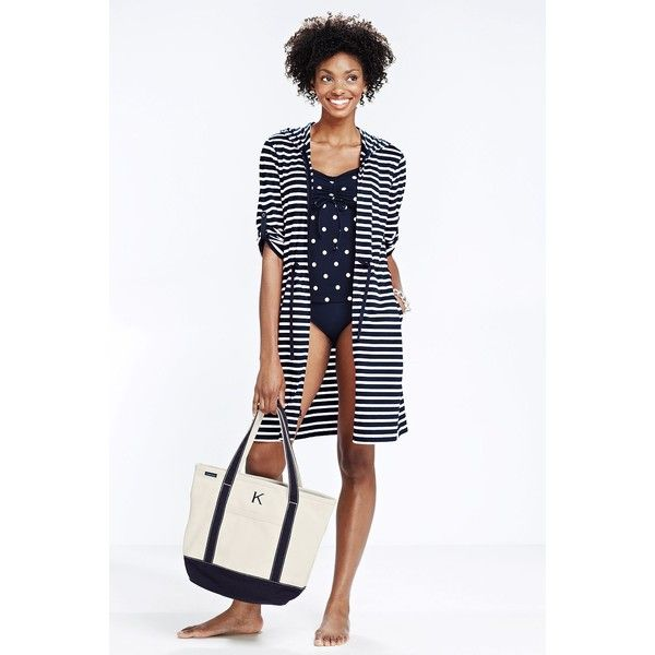 4798ac8ab8 Lands' End Women's Regular Stripe Cotton Jersey Roll Sleeve Cover-up $45