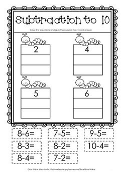 FREE - Cut and Paste Subtraction to 10 | Number | Pinterest