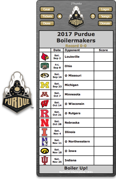 Get your 2017 Purdue Boilermakers Football Schedule