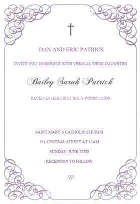 Receiving holy communion printable invitation template for Free printable confirmation invitations template
