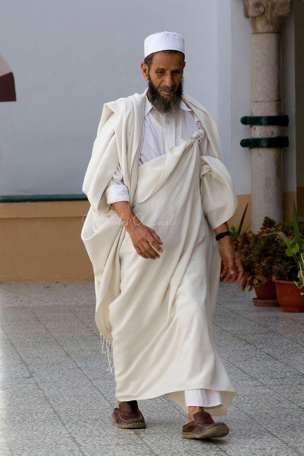 Tripoli Libya Libyan Man Wearing Traditional Holi