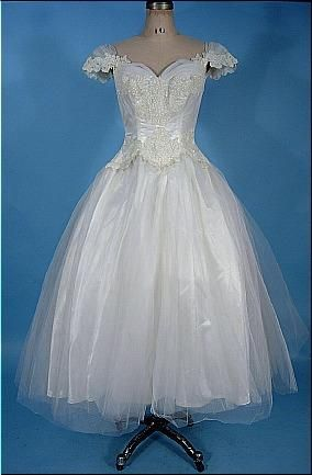 Circa 1950\'s Wedding Dress of ballet length with off-the-shoulder ...
