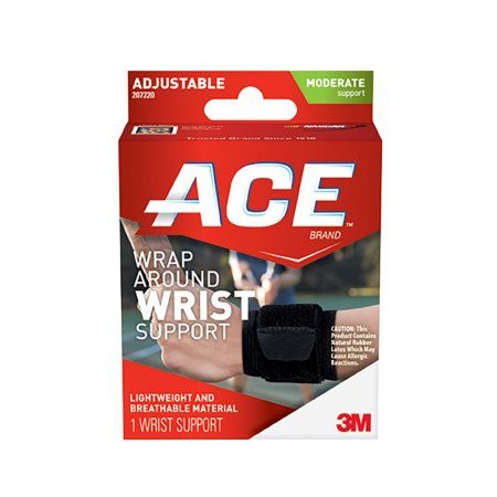 ACE Wrap-Around Wrist Support, One Size, Adjustable, Black