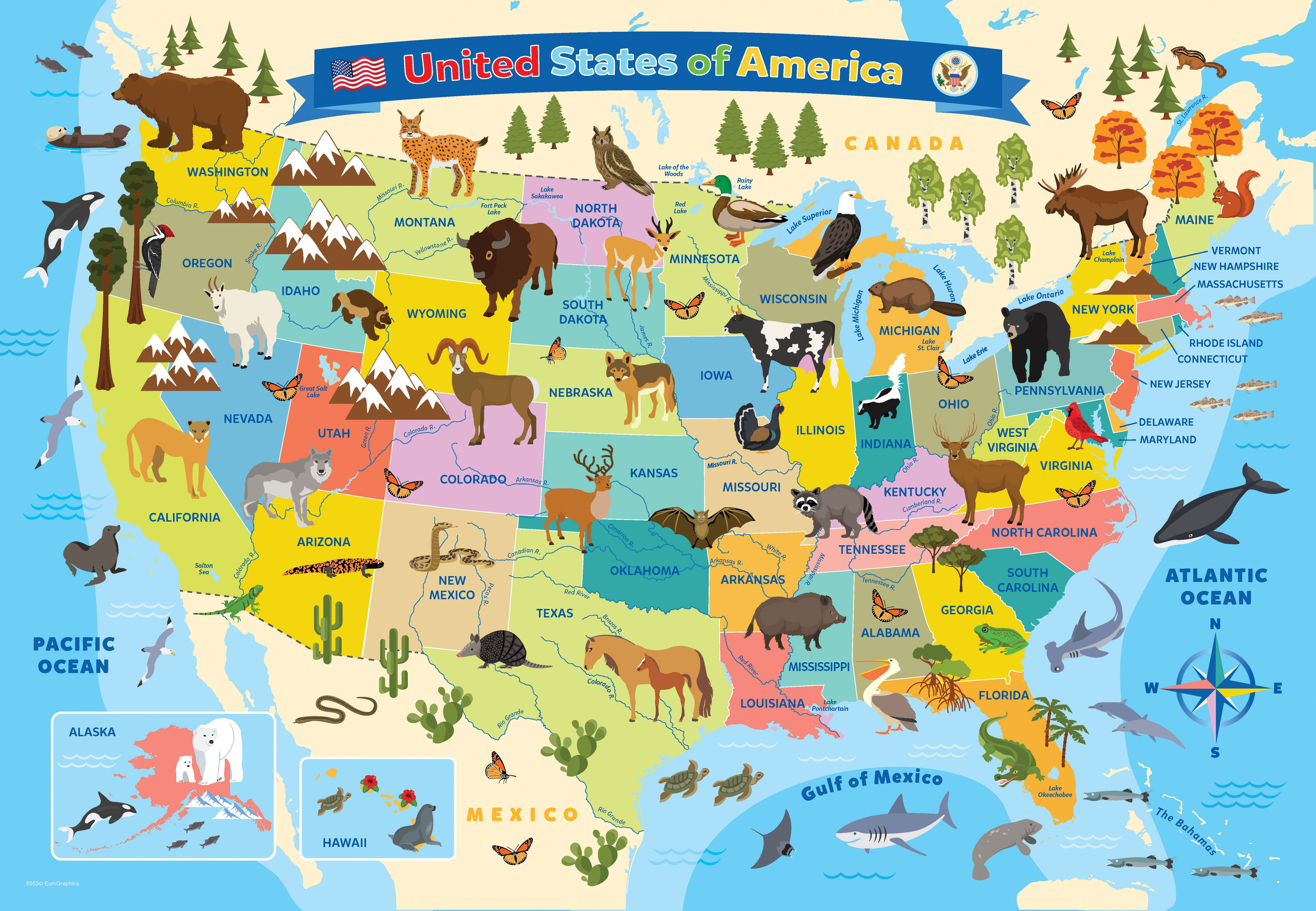 Eurographics Illustrated Map Of The United States Of