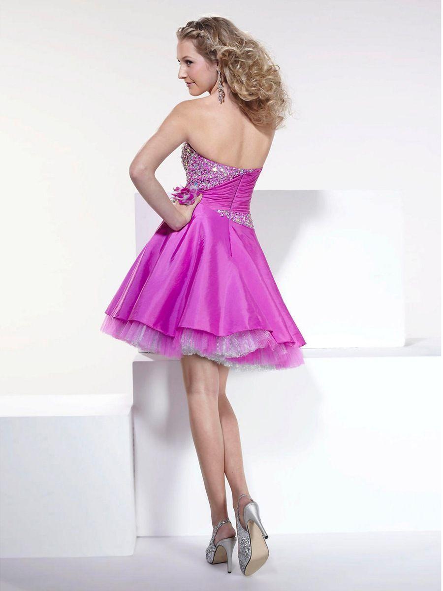 vestido de damas para quinceanera | sin tirantes de raso morado de ...