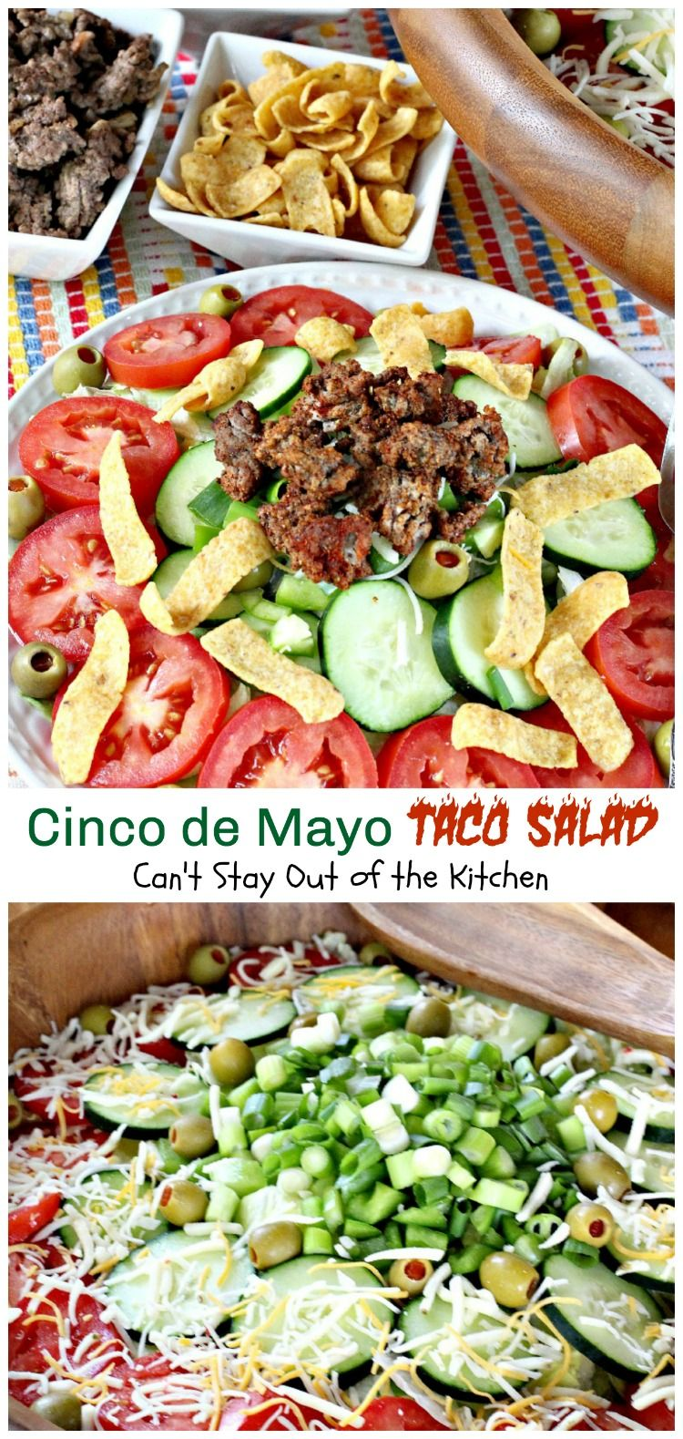 Cinco de Mayo Taco Salad | Can't Stay Out of the Kitchen | wonderful #Tex-Mex #salad with delicious southwest flavor. Great for #CincodeMayo. #cheese #groundbeef  #Fritos