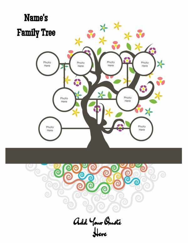 Family Tree With Colored Roots  Family Tree Templates