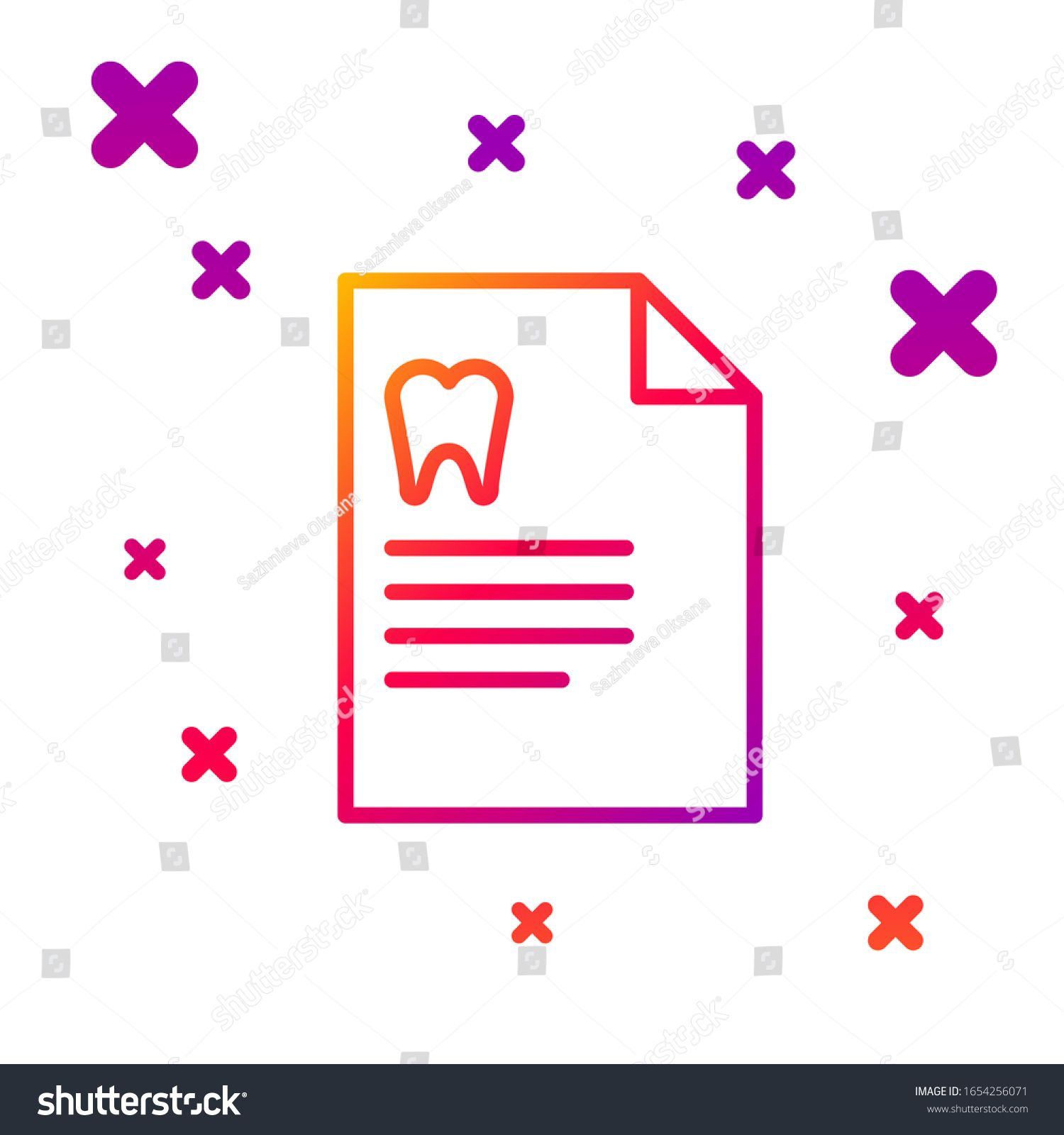 Color Line Clipboard With Dental Card Or Patient Medical Records
