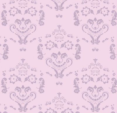 Baroque Damask Smiles - Purple on PInk