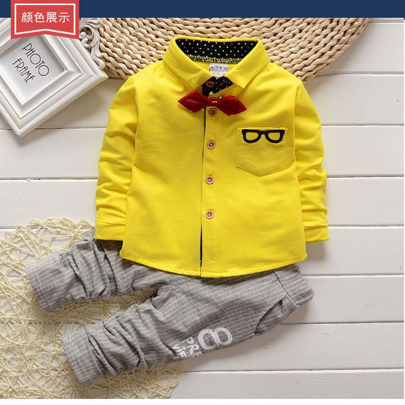 22e3e54a3d3b Baby Clothing Sets Kids Clothes Baby Sets Kids Long Sleeve Sports Suits Bow  Tie T-shirts + Pants Boys Clothes