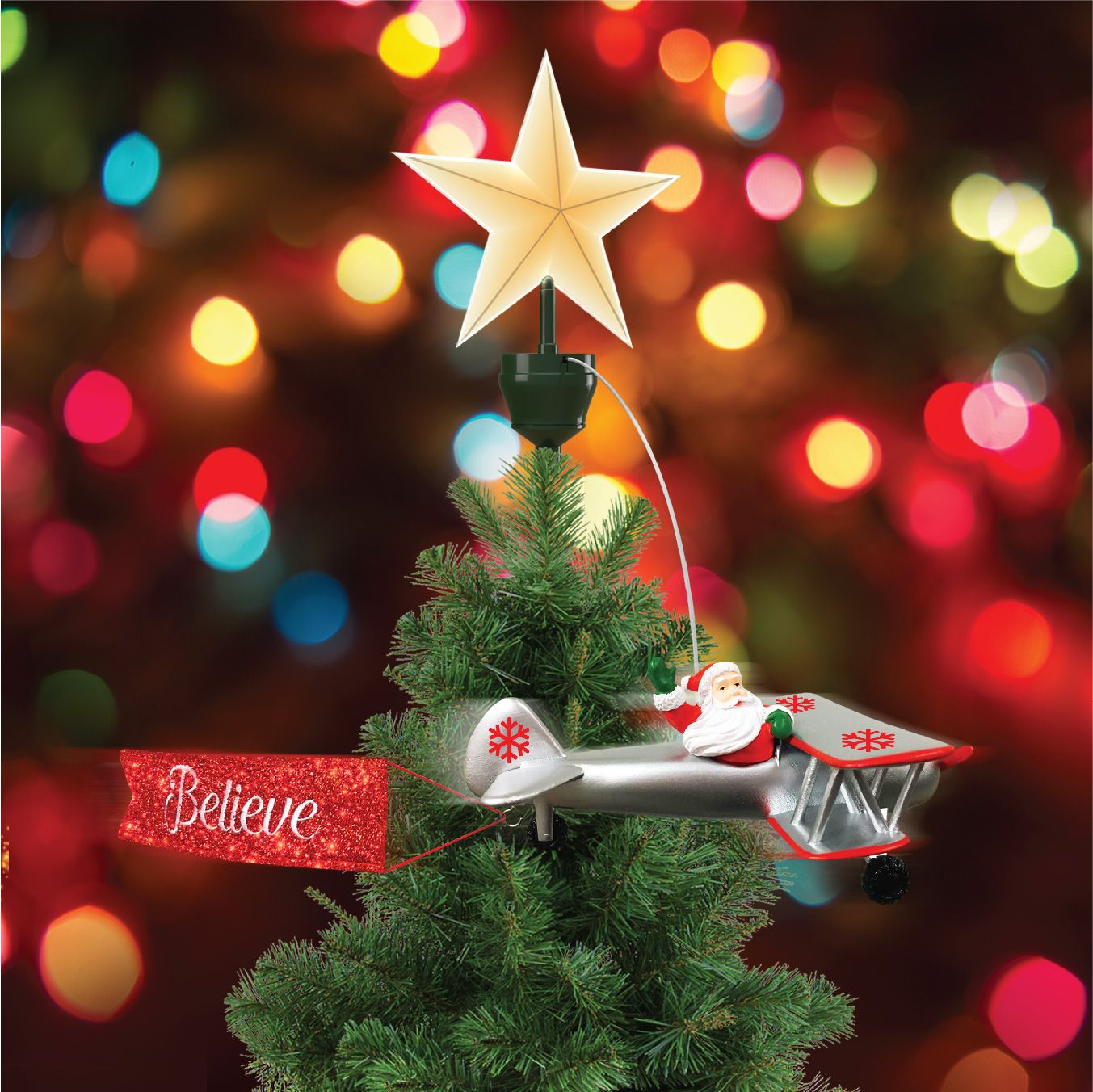 Animated Tree Topper Biplane Walmart Com In 2020 Christmas Tree Toppers Animated Christmas Tree Holiday Tree Toppers
