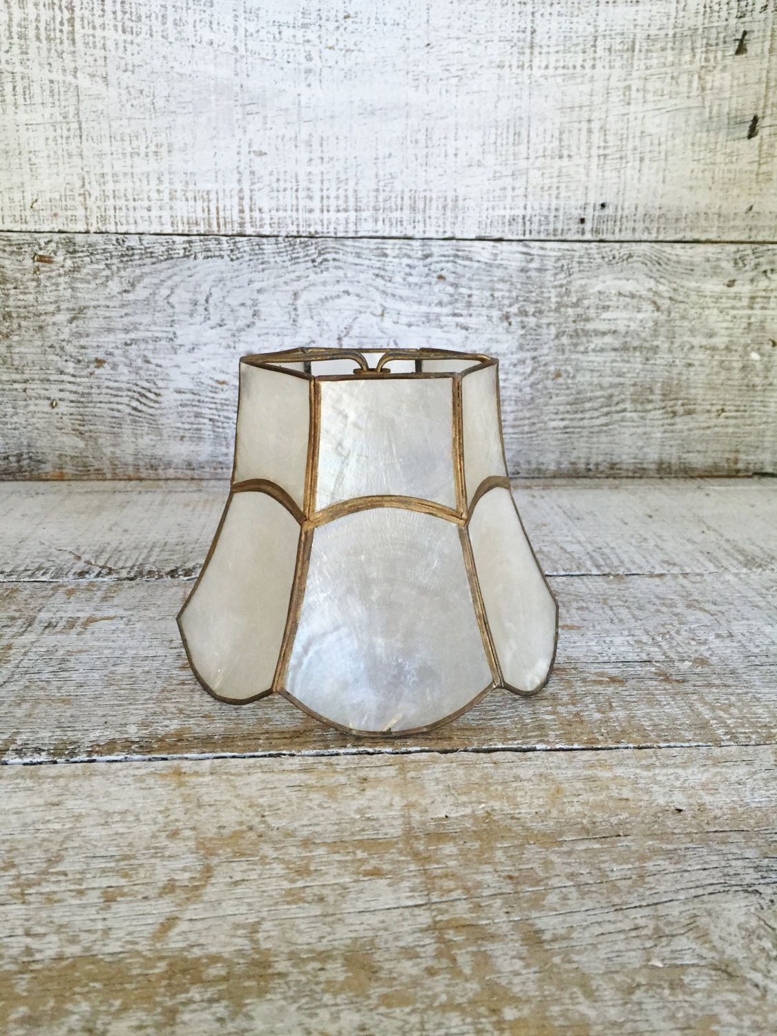 Capiz Shell Lampshade Small Shell Lamp Shade Small Mid Century Clip On Lamp Shades Chandelier Lampshades Seashell And Brass La Shell Lamp Brass Lamp Lamp Shade