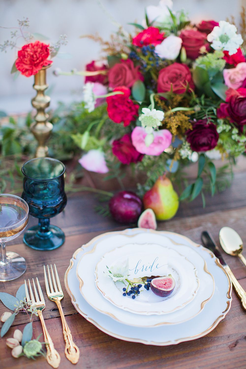 Blue and gold wedding decor  Fields of Gold Wedding Ideas  Wedding place settings Wedding