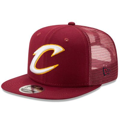 Men's New Era Wine Cleveland Cavaliers Trucker Patched Snapback 9FIFTY Adjustable Hat