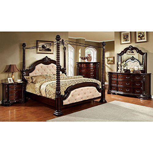 Monte Vista Dark Walnut Finish Ivory Leatherette Queen Size 6 Piece Canopy  Bedroom Set
