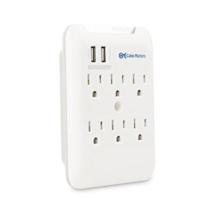 Amazon com: Cable Matters 6-Outlet Wall Mount Surge Protector with