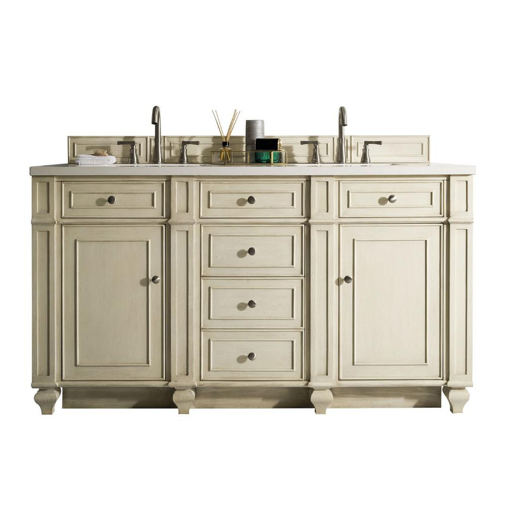 James Martin Signature Vanities Bristol 60 In W Double Vanity Vintage Vanilla With Quartz Top White Basin 157v60dvv3snw The Home