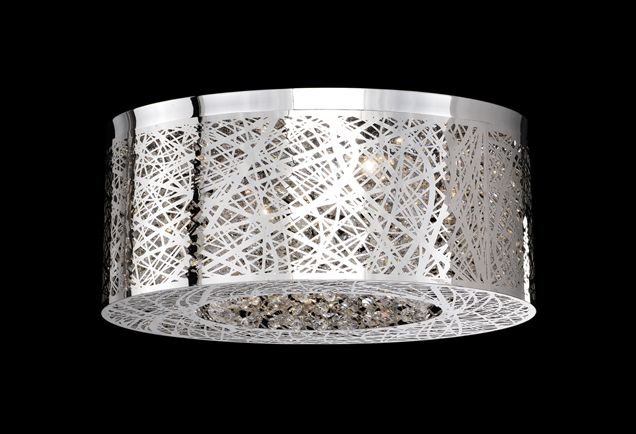 510108 – Eight Lamp Ceiling with Laser Cut Stainless Steel and Crystals