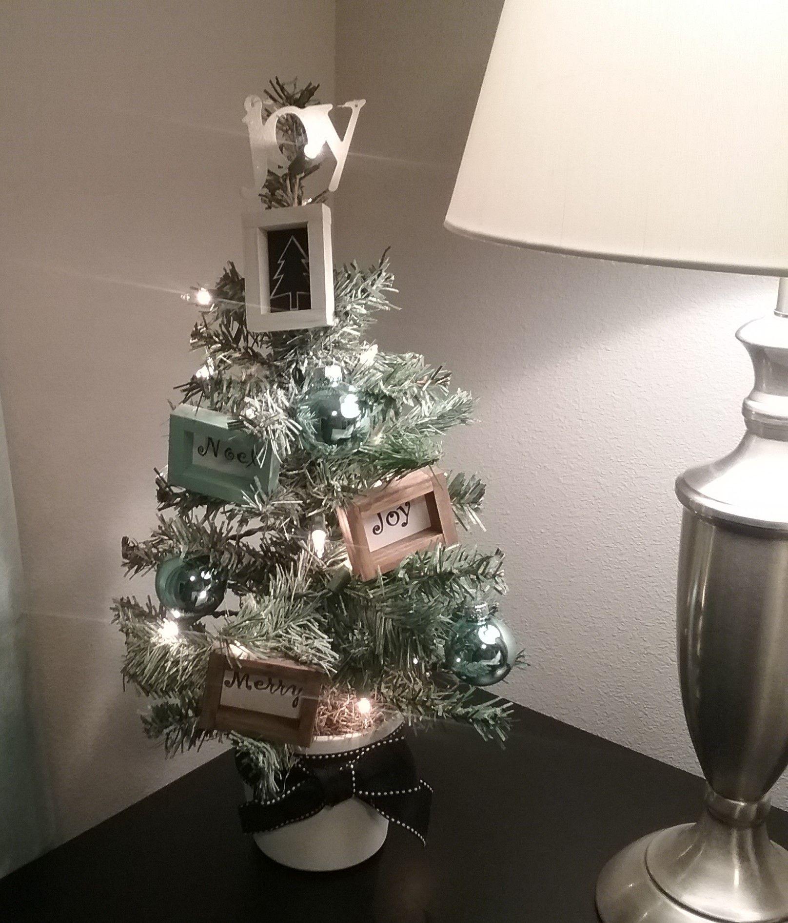 Mini Black Christmas Tree: I Used A Dollar Tree Mini Tree With Added Pieces Of Dollar