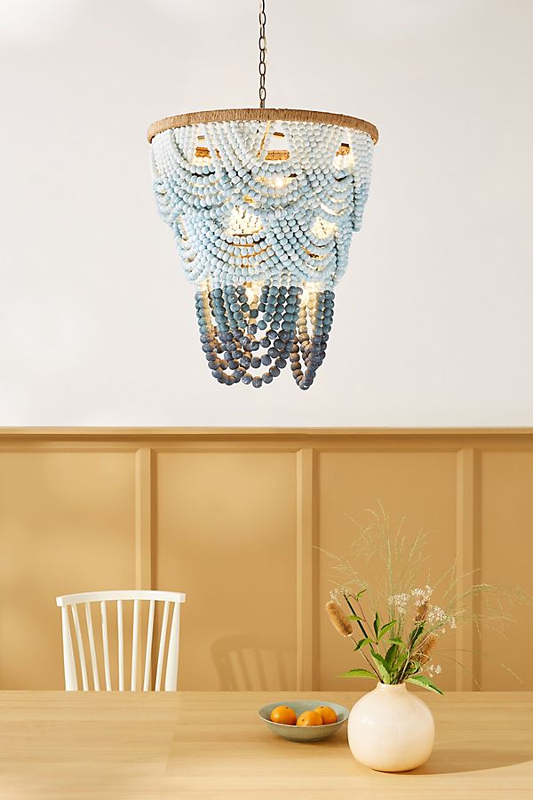 Aquamarine Beaded Chandelier In 2020 Beaded Chandelier Chandelier Bohemian Lighting