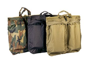 Military Flyers Helmet Bag Vintage Canvas Leather Handles Carry Strap Army