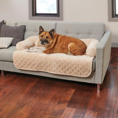 Plush Pet Cover With Bolster Helps Keep Pet Hair Off Your