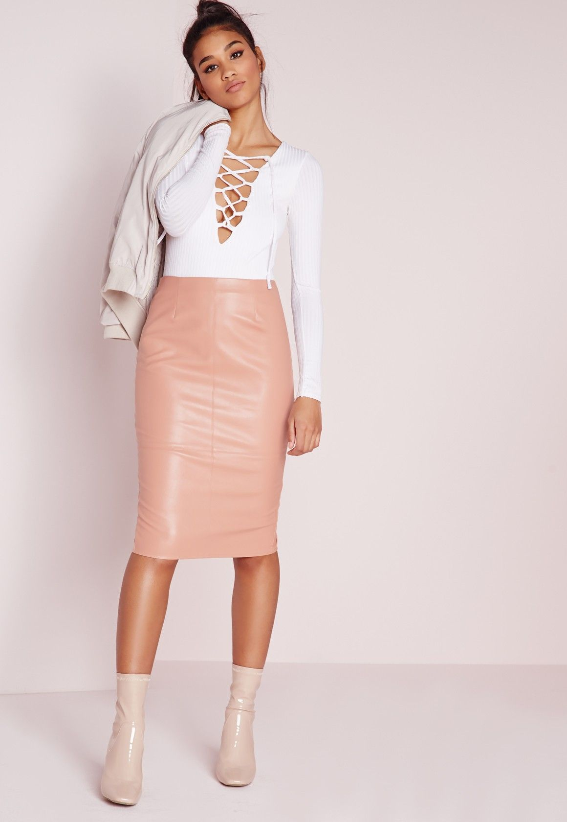 538d36f55 Missguided - Faux Leather Seam Detail Midi Skirt Nude | Leather ...