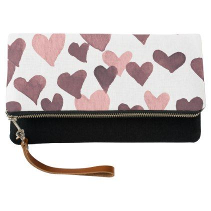 Valentines Day Watercolor Hearts  dark pink Clutch - valentines day gifts gift idea diy customize special couple love