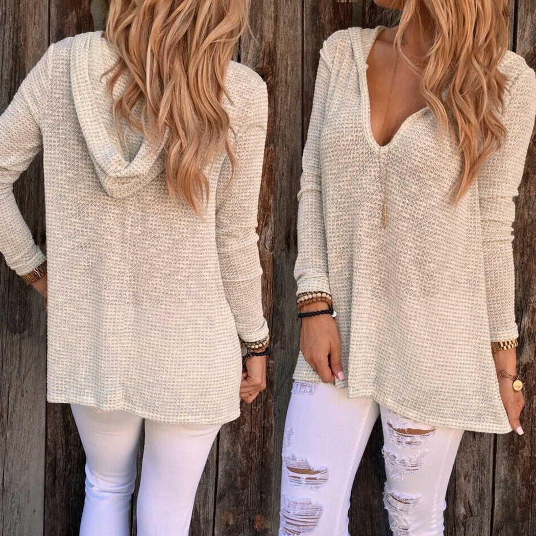 new fashion women casual long sleeve hooded solid pullover