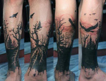 Tatuajes Para Hombres En Pierna Paisajes Tenebrosos Tatuaje Estilo