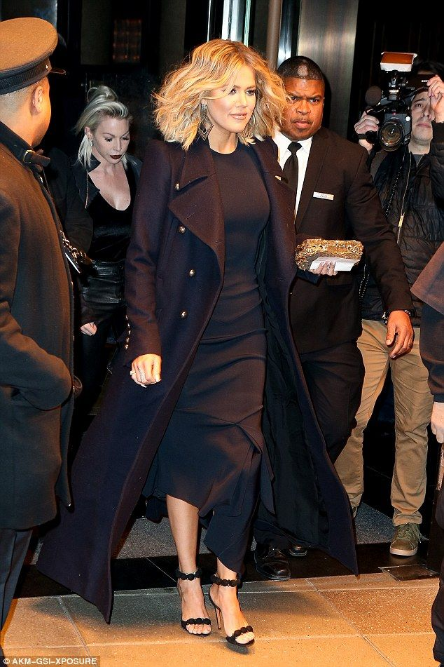 776f576d6fe New York chic  Khloe Kardashian looked stylish in a sleeveless black dress  with asymmetrical hem as she left her hotel in New York on Thursday