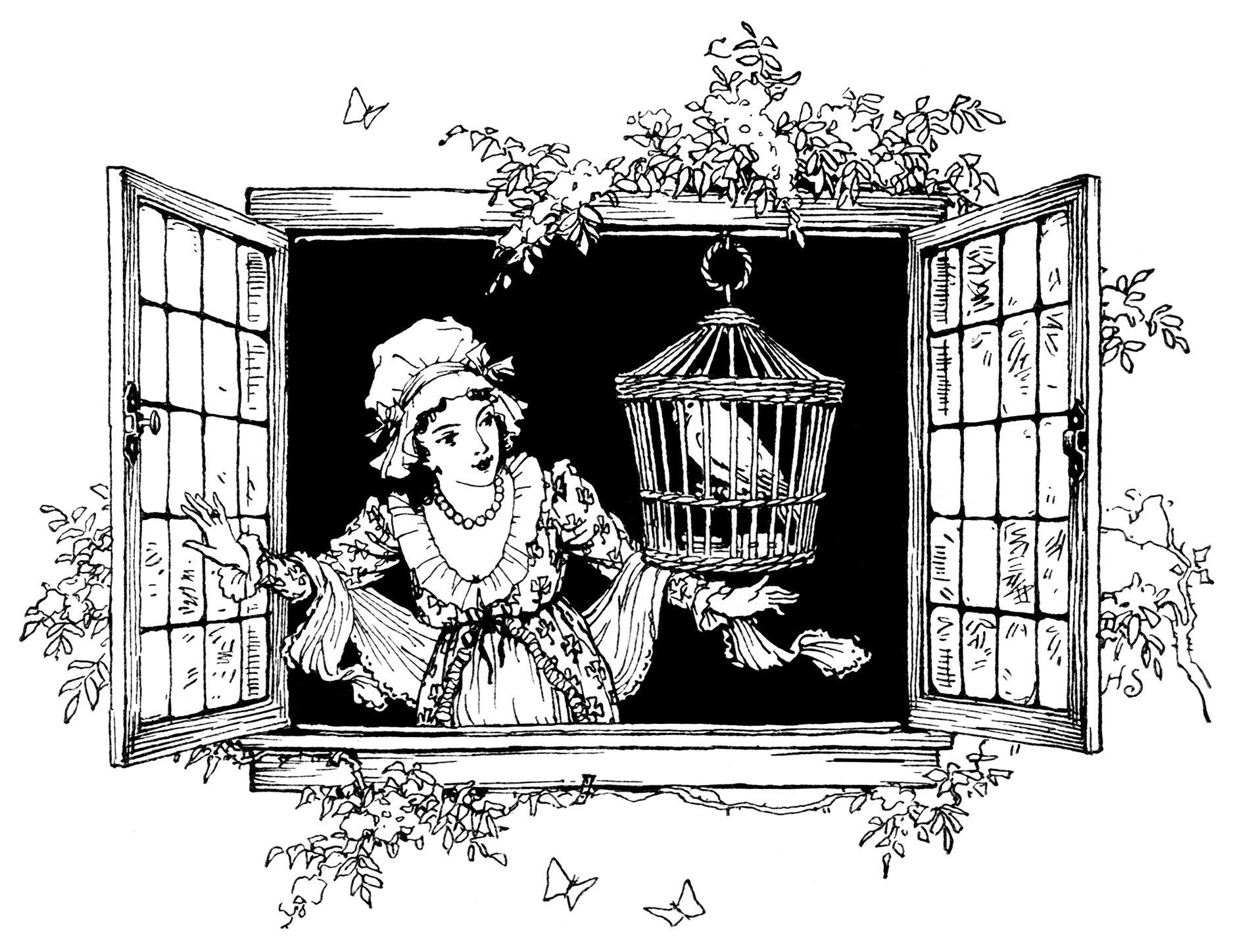 clipart victorian lady, girl and bird in window, black and ...