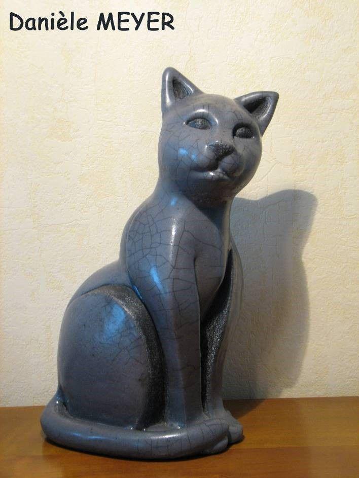 Raku gato escultura de animales originales hechos a mano única Danièle Meyer