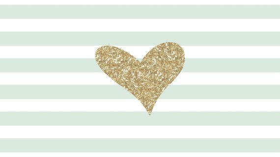 Mint Amp White Stripes Gold Glitter Heart Desktop Wallpaper