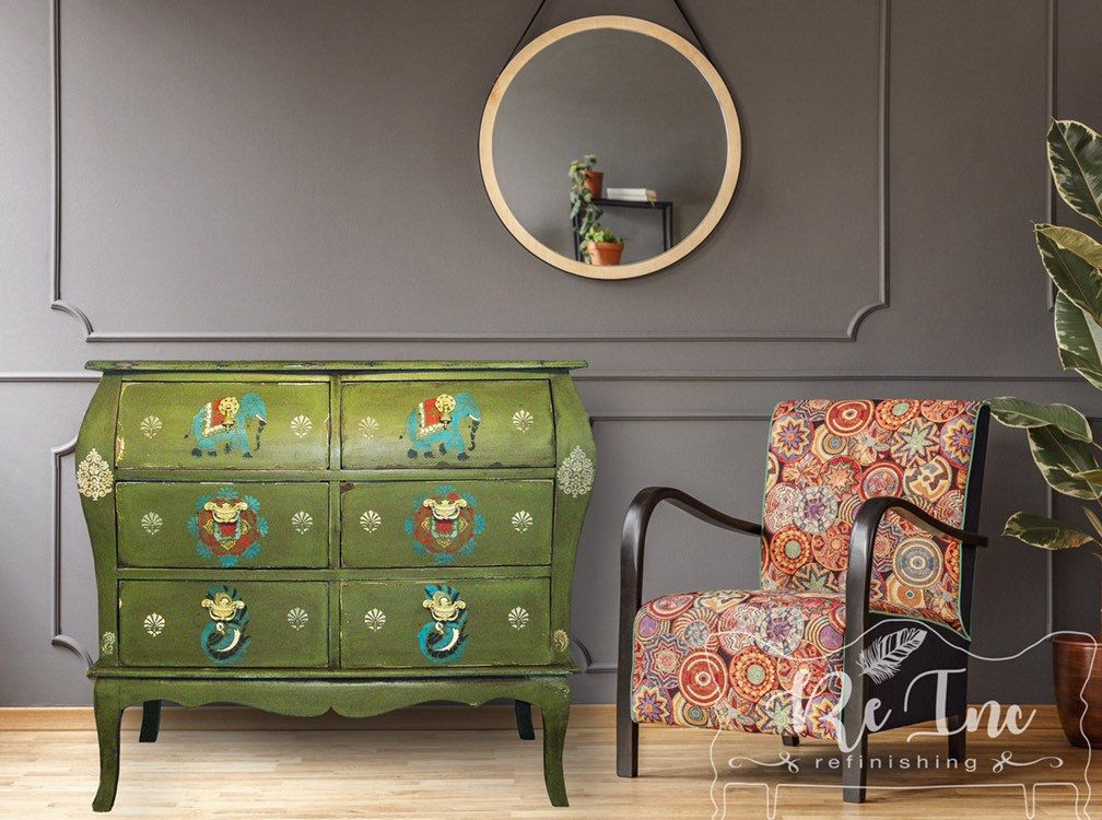 Solid Wood Contemporary Bombay 6 Drawer Dresser Chest Of Drawers Bedside Dresser Bohem Contemporary Chest Of Drawers Green Furniture Home Office Furniture