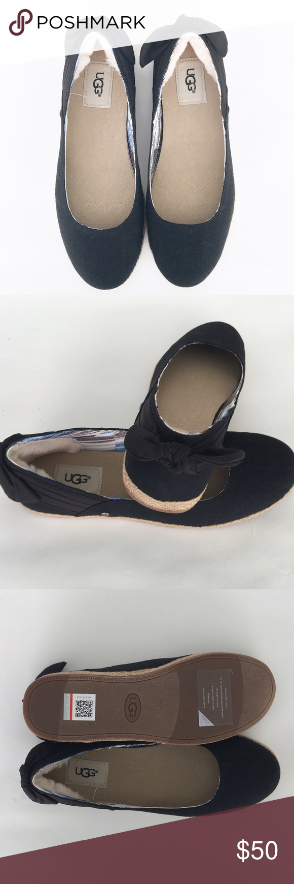 NEW UGG Australia Flats Uppers of cotton canvas and jute